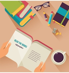 Reading books desktop set of flat icons vector
