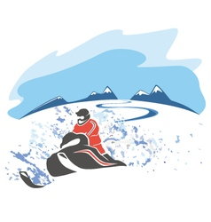 Riding a snowmobile picture vector