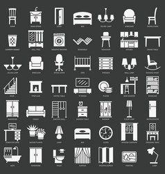 room furniture silhouette icons set vector image