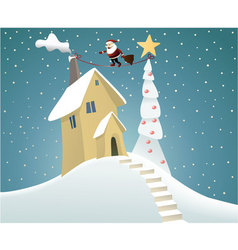 Santa Claus delivering gifts vector image vector image
