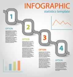 Striped infographic chain four steps vector