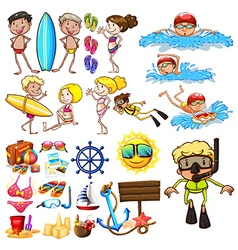 Summer set with swimmers and equipment vector image