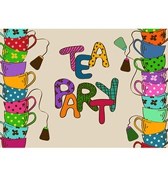Tea party invitation with teacups vector