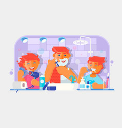 Young family boy brushing his teeth man shaving vector