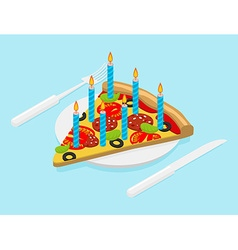 Birthday pizza with candles isometrics fast food vector
