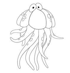Cute cartoon jellyfish vector