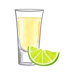 Tequila with a slice of lime isolated on white vector