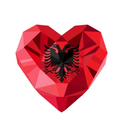 Crystal gem jewelry albanian heart with the flag vector