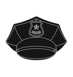 police cap icon in black style isolated on white vector image