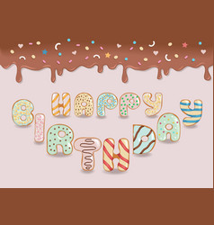 Happy birthday white chocolate donuts vector