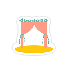 Paper sticker on white background wedding arch vector