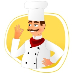 Smiling chef with mustache vector
