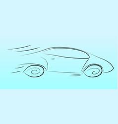 Silhouette of a speeding car vector