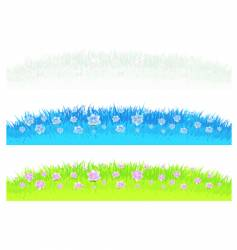 Grass with flowers design elements vector