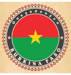 Vintage label cards of burkina faso flag vector