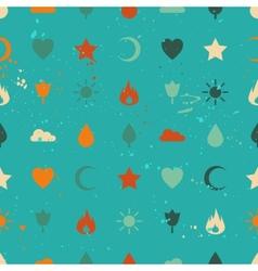 Random retro vintage icons seamless pattern vector image