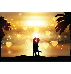 Romantic couple against a sunset sky vector