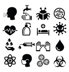 Infection virus - health icons set vector