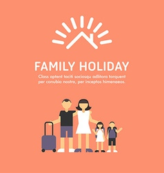 Happy family travel parents with children father vector