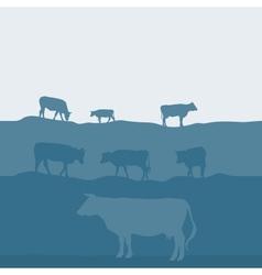 Cows silhouette graze in the field landscape sky vector image