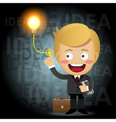 Businessman turning on idea light bulb vector