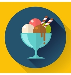 Ice cream in glass cup icon flat designed vector