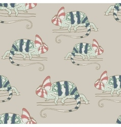 Seamless pattern with chameleon vector image