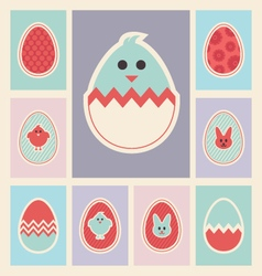 Easter eggs and icons set vector