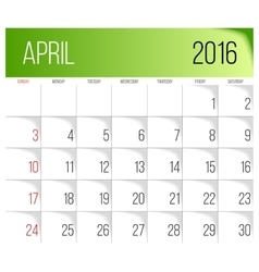 April 2016 planning calendar vector
