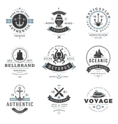 Nautical logos templates set vector
