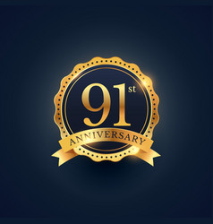 91st anniversary celebration badge label in vector