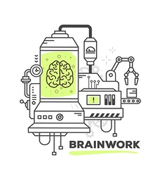 Creative professional mechanism of brainw vector