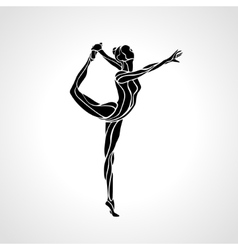 Silhouette of gymnastic girl art gymnastics vector