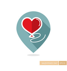 Balloon in the form of heart pin map icon vector