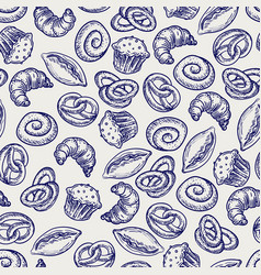 ballpoint pen bakery products seamless pattern vector image
