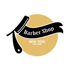 barber shop in new york since 1986 emblem vector image vector image