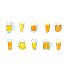 beer glass icon set cartoon style vector image vector image