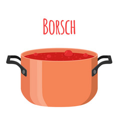 Borsch - red ukranian soup with beet tomato meat vector
