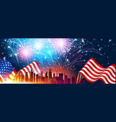 Colorful fireworks for independence day of america vector