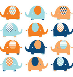 Coral and navy cute elephant set vector