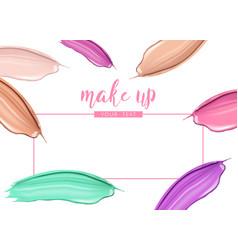 Cosmetic liquid foundation and lipstick smudge vector