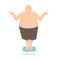 fat man stands on bathroom scale vector image