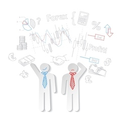 Forex traders and symbols stock trading vector image