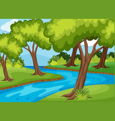 Forrest scene with river run through vector