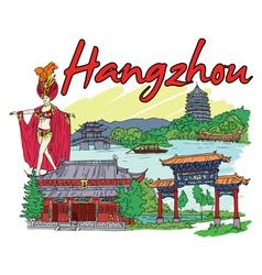 Hangzhou doodles vector
