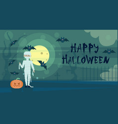 happy halloween greeting card mummy at night on vector image