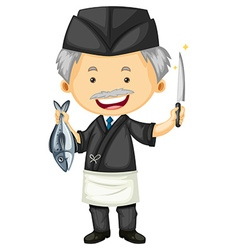 Male chef in black uniform vector image vector image