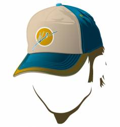 Male face with baseball cap vector