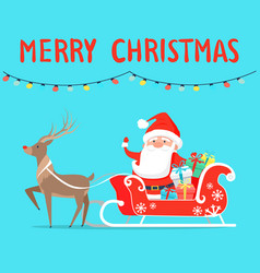 merry christmas santa with reindeer on sledge vector image