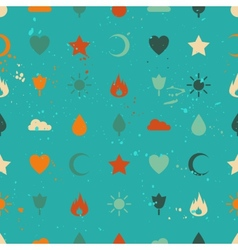 Random retro vintage icons seamless pattern vector
